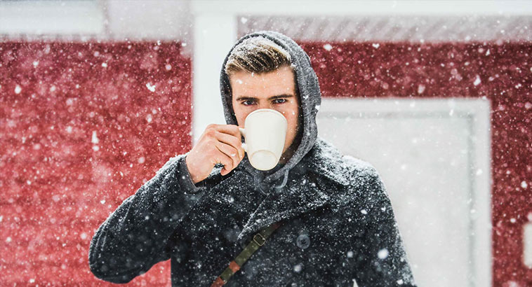Natural Oils For Best Skin, Man In Winter Weather