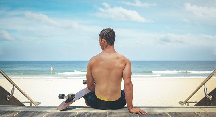 Skin Health Check, Man On Beach