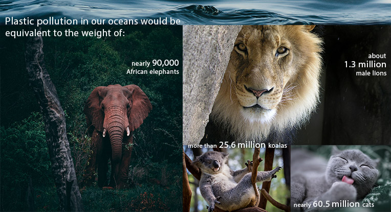 photo graphic: plastic pollution in our oceans equals the weight in millions of elephants, lions, koalas, and cats