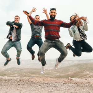 friends jumping, self-care activities