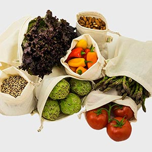 use cloth produce bags to reduce plastic pollution