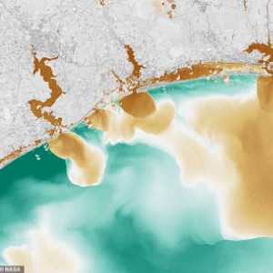 colorized satellite of Carolina coast chemical run off, types of water pollution